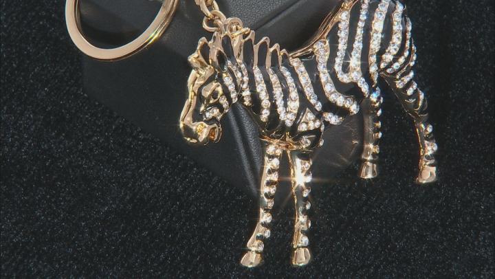 Multicolor Crystal Back Enamel Gold Tone Zebra Keychain