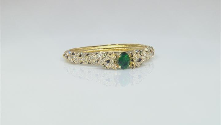 White And Green Crystal Black Enamel Gold Tone Jaguar Bracelet