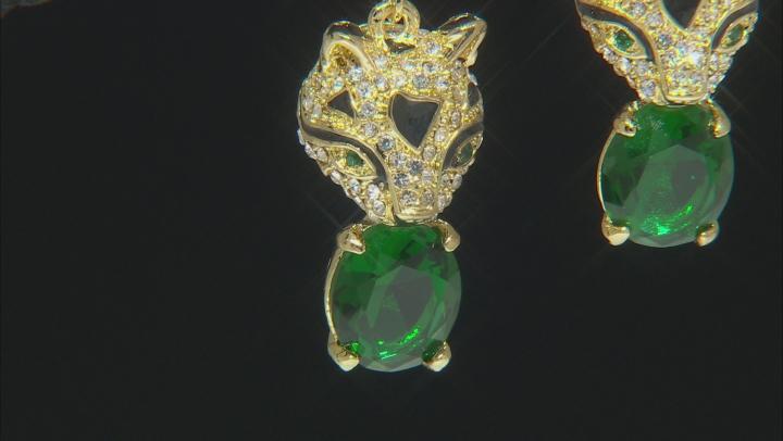 White And Green Crystal Black Enamel Gold Tone Jaguar Earrings