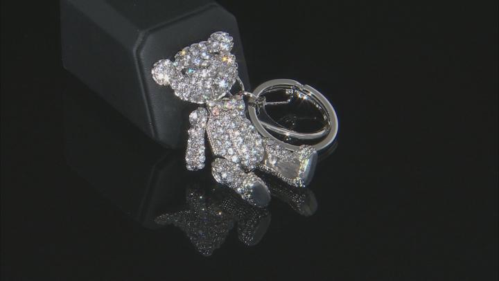 Multi Color Crystals Silver Tone Bear Keychain