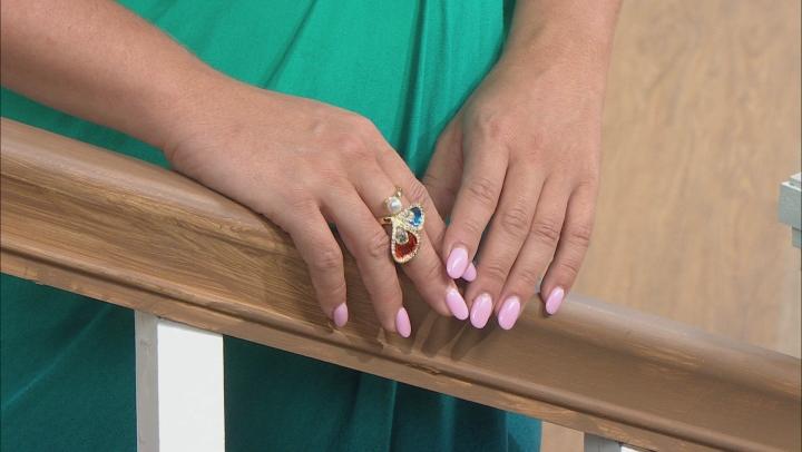White Crystal Simulant Gold Tone Ring