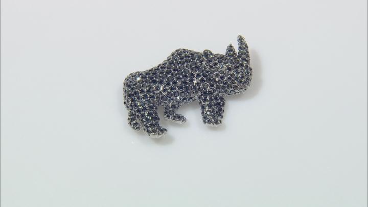 Black Crystal Silver Tone Rhino Brooch