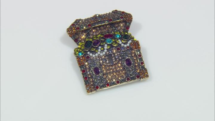 Mulitcolor Crystal Antique Bronze Tone, Treasure Chest Brooch