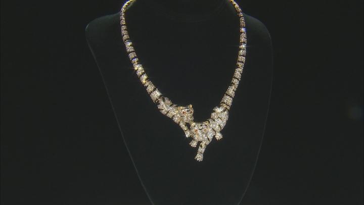 White Crystal Black Enamel Gold Tone Tiger Necklace