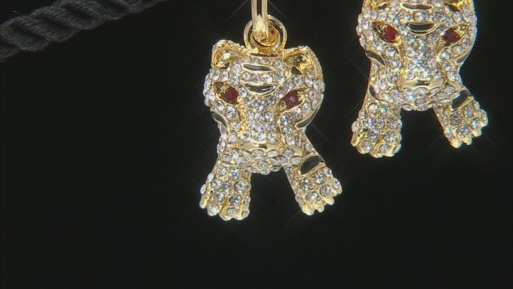 White Crystal Black Enamel Gold Tone Tiger Earrings