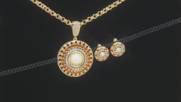 White Crystal Gold Tone Enhancer & Earrings