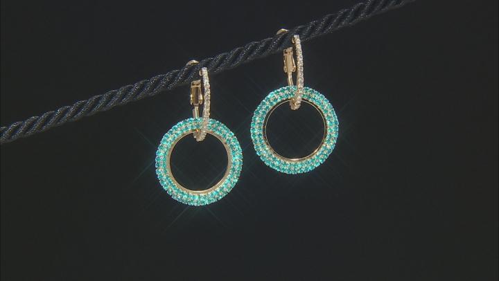 Multi-color Crystal Gold Tone Set of 3 Dangle Earrings