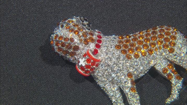 Crystal Silver Tone Saint Bernard Dog Brooch
