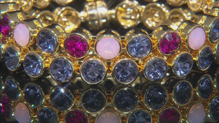 Multi-color Crystal Gold Tone Bangle Bracelet Set of 2