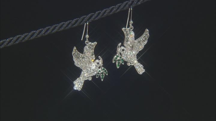 Multi-color Crystal Silver Tone Dove Earrings