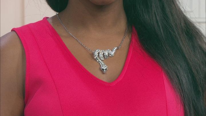 White & Black Crystal Silver Tone Snake Necklace