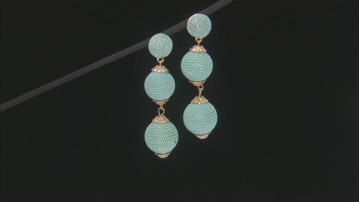 Blue Drop Gold Tone Earrings
