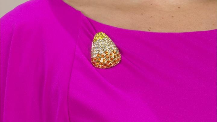 Crystal Gold Tone Candy Corn Brooch