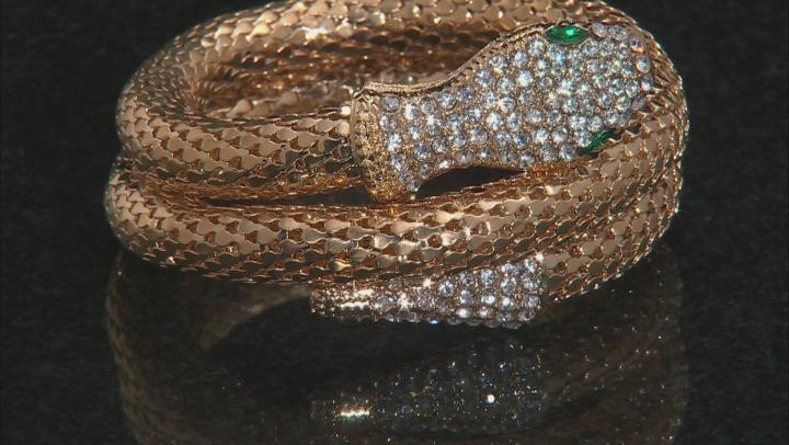 Green and white crystal gold tone mesh snake wrap bracelet