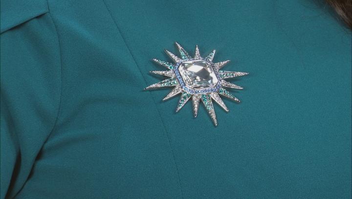 Multicolor Crystal Silver Tone Celestial Brooch