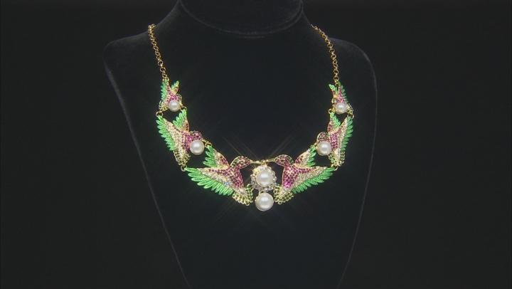 Multi-color Crystal  Hummingbird Necklace