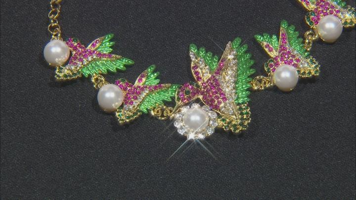 Multi-color Crystal  Hummingbird Bracelet