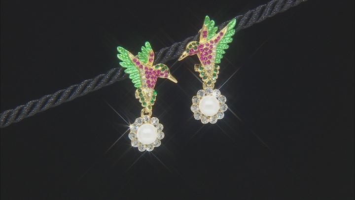 Multi-color Crystal  Hummingbird Earrings