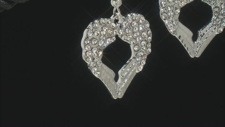 White Crystal Silver Tone Angel Wing Heart Earrings