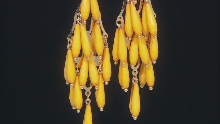 Yellow Elongated Pear Shape Bead Earrings
