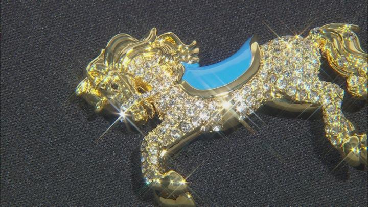 White Swarovski Elements ™ 14K Gold Over Base Metal Horse Brooch