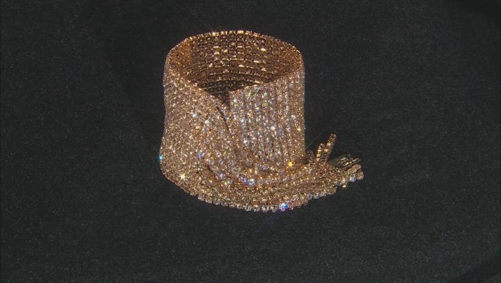 White Crystal, Gold Tone Graduated Fringe Bracelet