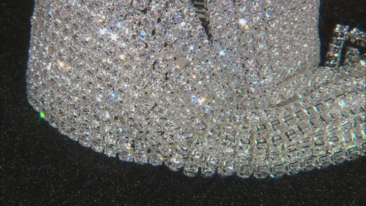 White Crystal Silver Tone Graduated Fringe Bracelet