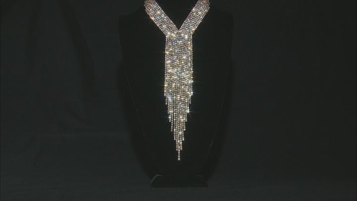 White Crystal Gold Tone Graduated Fringe Necklace