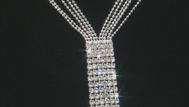 White Crystal Silver Tone Fringe Necklace