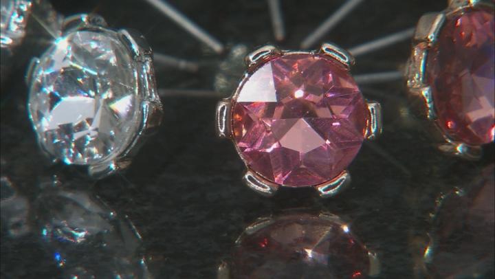 Multi-Color Crystal Tri-Color Set of 4 Stud Earrings
