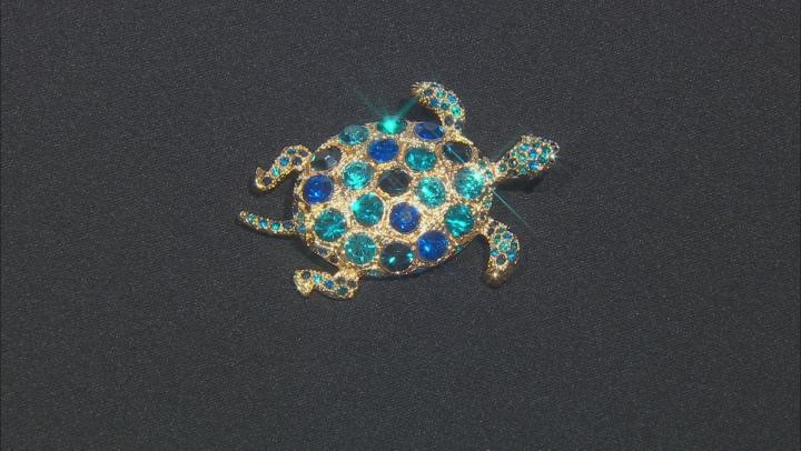 Multi-color Crystal Gold Tone Turtle Brooch