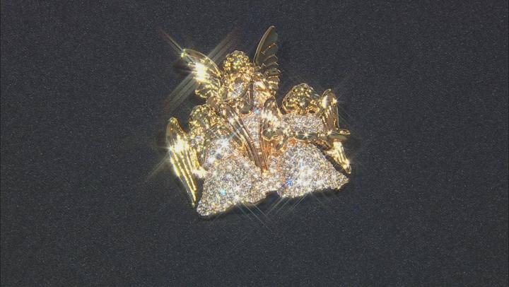 White Crystal 14K Gold Over Base Angel Brooch