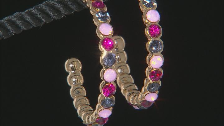 Crystal Gold Tone Hoop Earrings