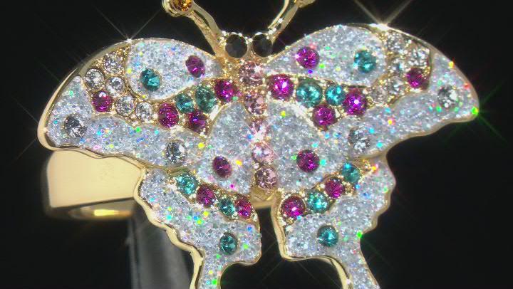Swarovski Elements ™ Shiny Gold Tone Butterfly Ring