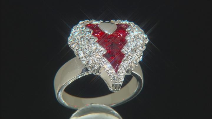 Red Swarovski Elements ™ Silver Tone Heart Ring
