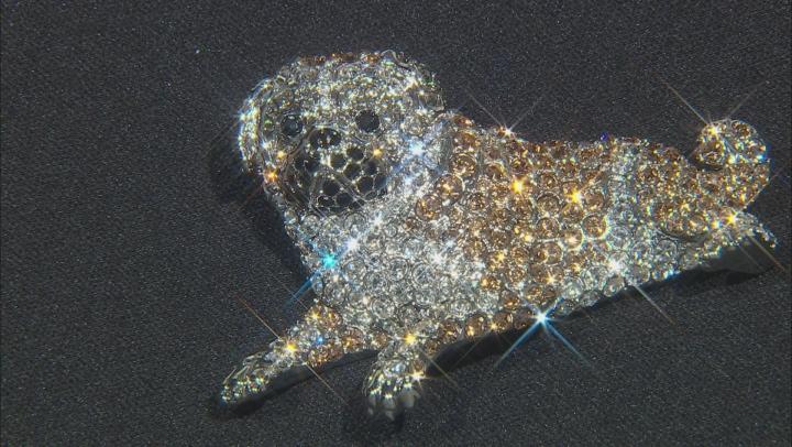 Multi-color Crystal Silver Tone Pug Dog Brooch