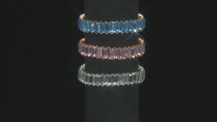 Gold Tone Multi-color Crystal Set of three stretch bracelet