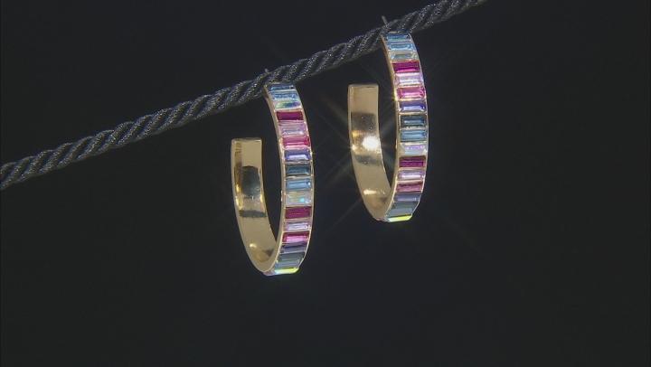 Gold Tone Multi-Color Crystal Hoop Earrings