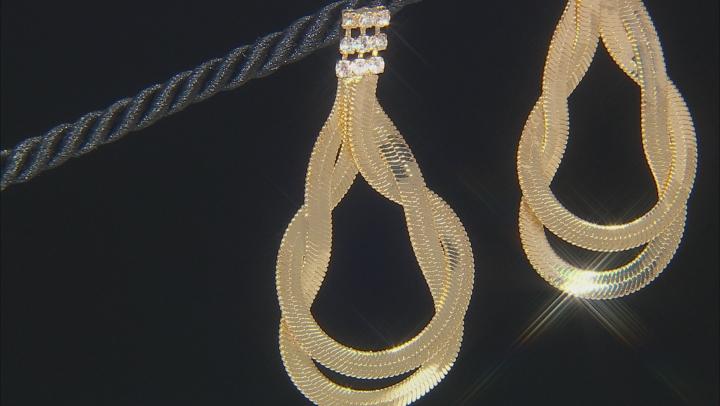 White Crystal Gold Tone Dangle Earrings