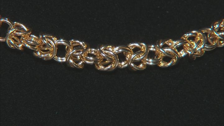 Gold Tone Triple Strand Graduated Byzantine Necklace