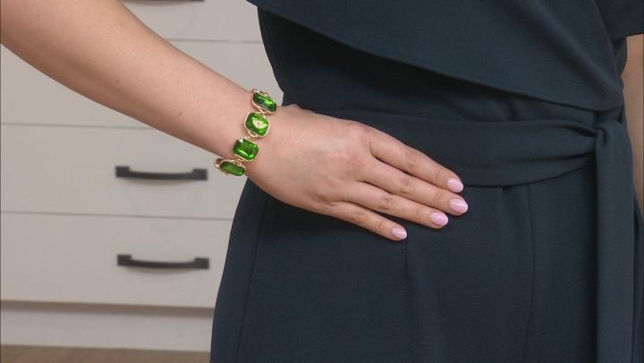 Gold Tone Green Crystal Bracelet