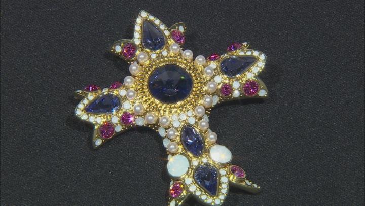 Shiny Gold Tone, Swarovski Elements ™ Crystal Cross Brooch