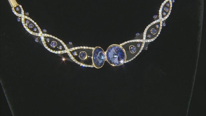 Multi Color Swarovski Elements™ Crystal  Gold Tone Collar Necklace