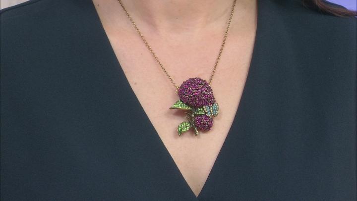 Antique Bronze Tone Multi-Color Crystal hydrangea Pin & Pendant