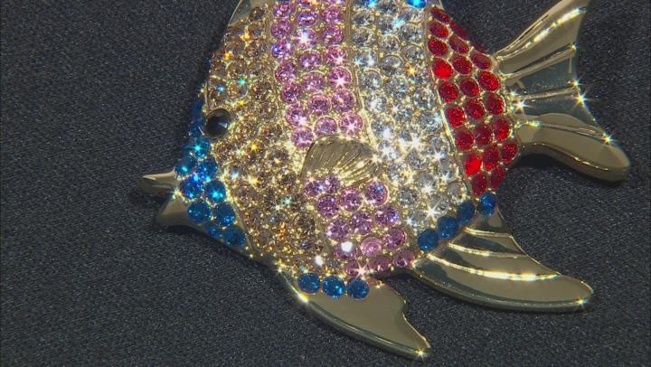 Swarovski Elements™ Shiny Gold Tone Fish Brooch