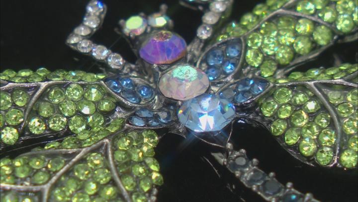 Multi-Color Crystal Gunmetal Tone Dragonfly Brooch