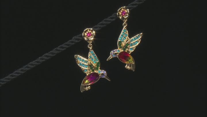 Gold Tone Bi- Color  Crystal Hummingbird Brooch And Earring Set