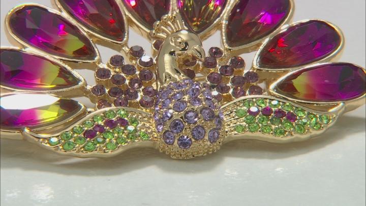 Gold Tone Multi-Color Crystal Peacock Brooch