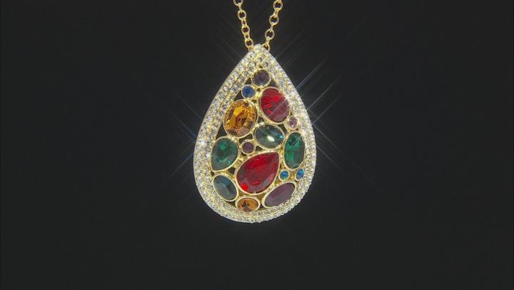 Multi-color Swarovski Elements ™ Shiny Gold Tone Drop Pendant/Pin