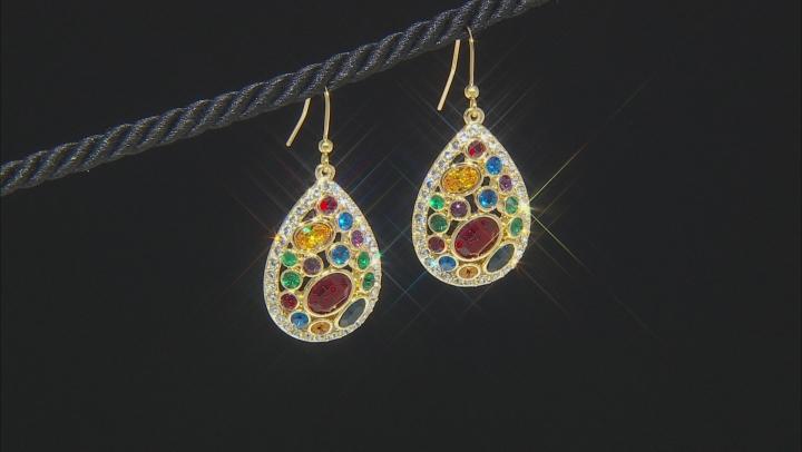 Swarovski Elements ™ Shiny Gold Tone Teardrop Earrings
